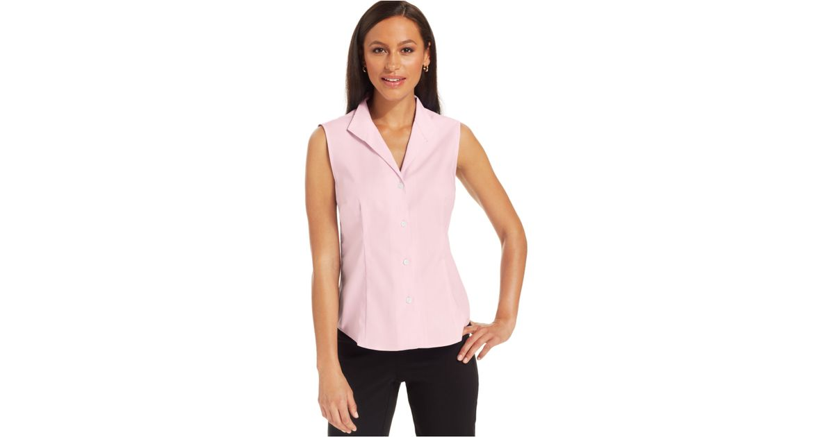 ca44da2fe Lyst - Jones New York Sleeveless Easy-Care Button-Down Top in Pink