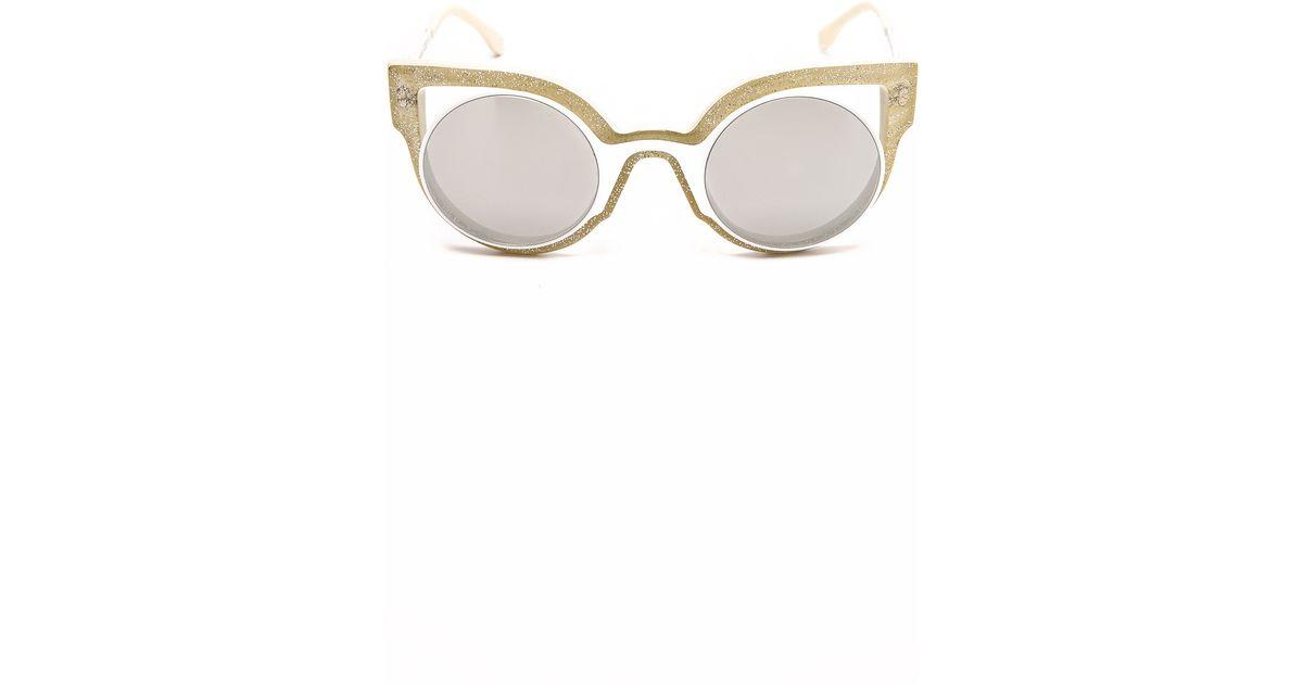 825da92321f93 Fendi Round Cutout Sunglasses in White - Lyst