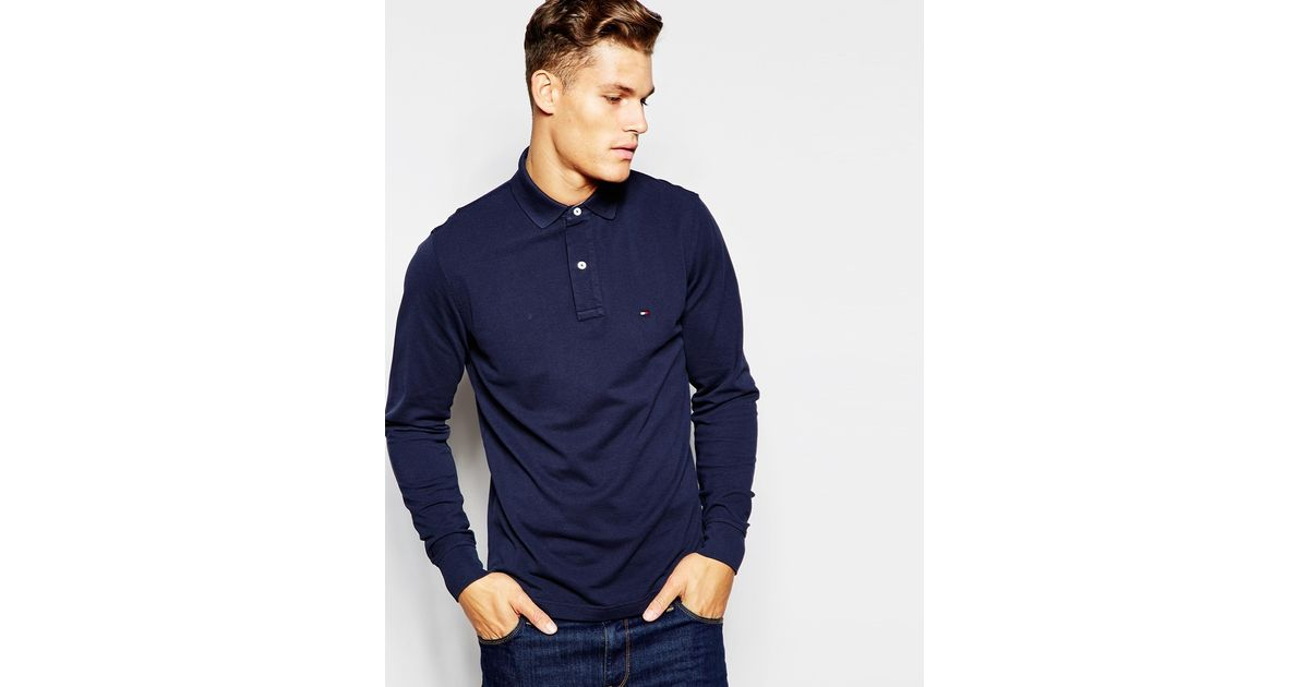 3866b65d Tommy Hilfiger Long Sleeve Polo With Contrast Under Collar Regular Fit Navy  in Blue for Men - Lyst
