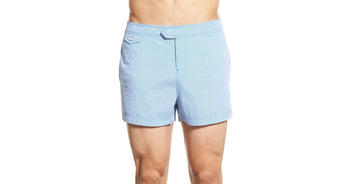66e9cd518f Original Penguin Seersucker Gingham Swim Trunks in Blue for Men - Lyst