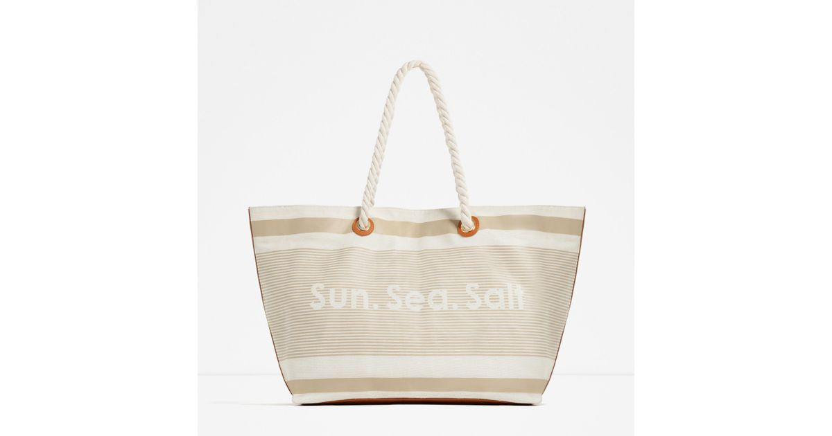 Zara Fabric Beach Tote in Gray | Lyst