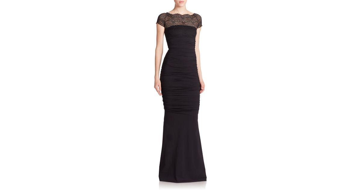 79ada624 La Petite Robe Di Chiara Boni Lace-top Illusion Gown in Black - Lyst