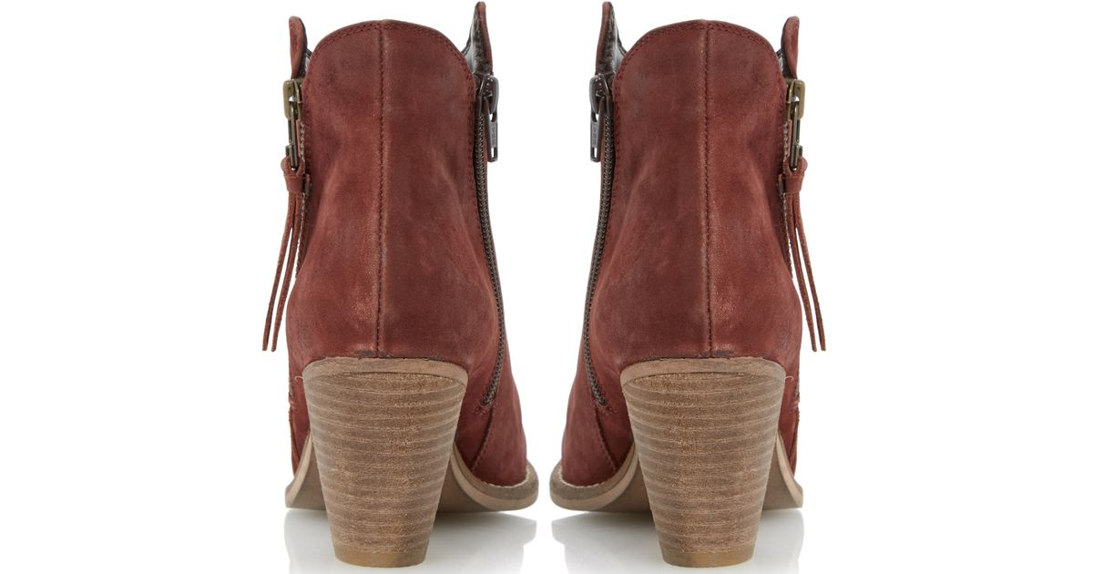 8f18b0ff544 Dune Red Pollie Nubuck Western Style Mid Heel Ankle Boots