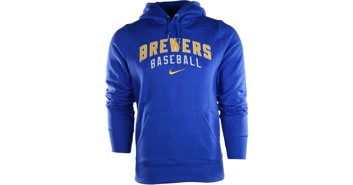 quality design f3ecc 55ac5 Nike Blue Men'S Milwaukee Brewers Classic Hoodie for men
