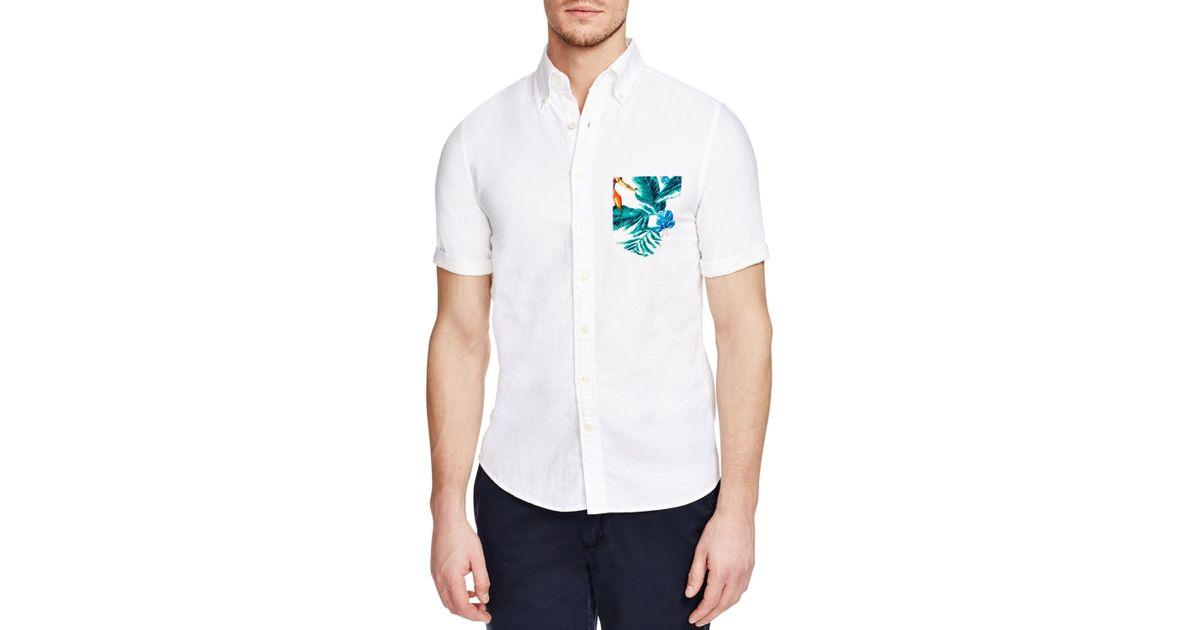 Gant beach oxford slim fit button down shirt in white for for Slim fit white button down shirt