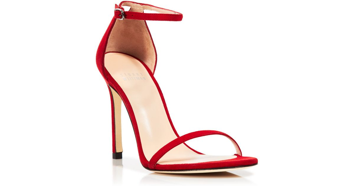 695dd97b043 Stuart Weitzman Red Ankle Strap Sandals - Nudistsong