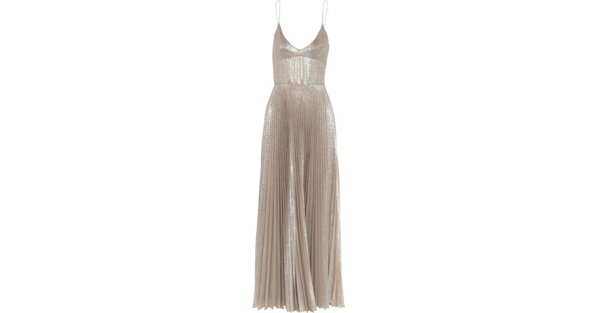 da877a9d Rochas Pleated Metallic Woven Silk-Blend Dress in White - Lyst