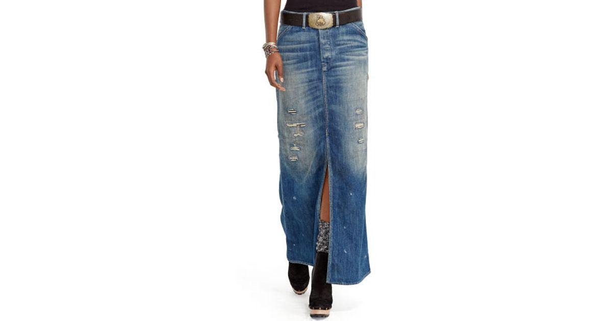 07c53ebf5f Polo Ralph Lauren Blue Repaired Denim Maxi Skirt