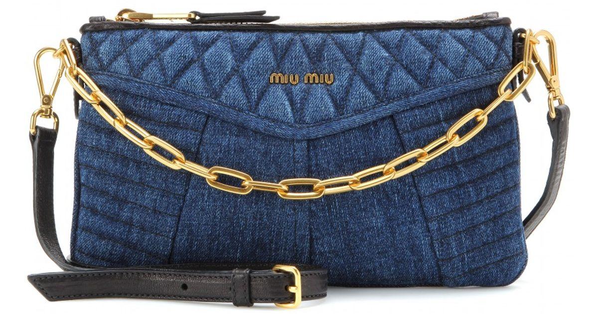 Blue Matelassé denim shoulder bag Miu Miu aDeU1G