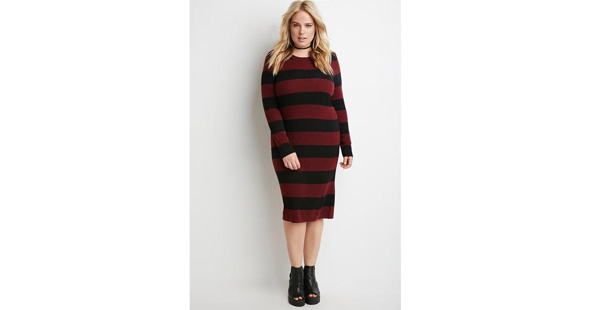 213750e3f40 Lyst - Forever 21 Plus Size Striped Rib Sweater Dress in Purple