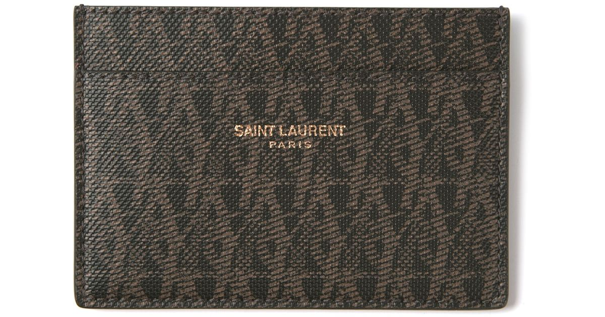 lyst saint laurent monogram card holder in brown for men - Monogram Card Holder