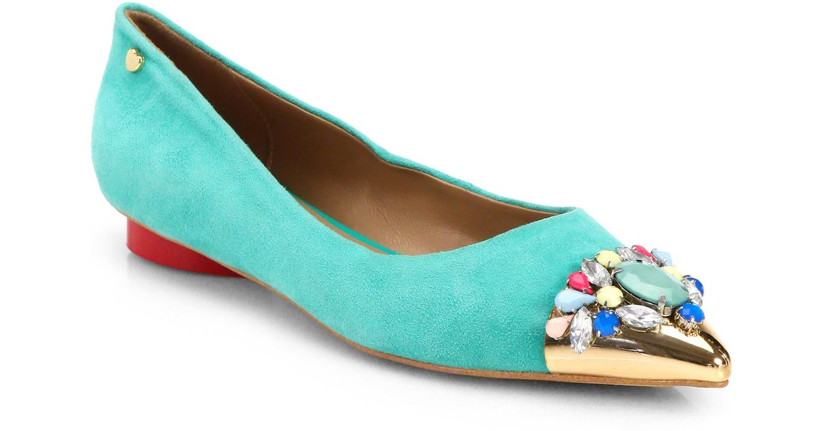 cheap sale choice Love Moschino Suede Cap-Toe Flats discount with paypal 2014 cheap price 48Ht10