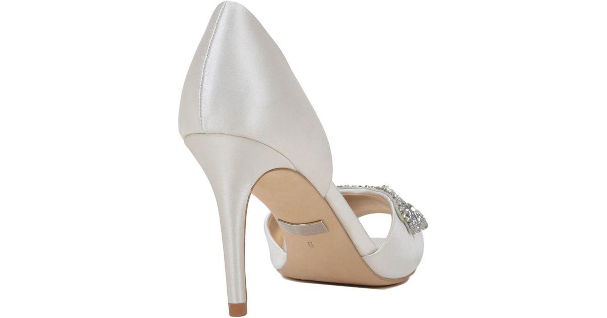 badgley mischka candance embellished evening shoe in white