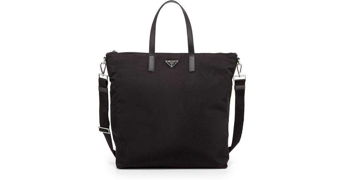 88898ee241 ... discount lyst prada mens nylon zip tote bag with strap in black 196b9  2f243