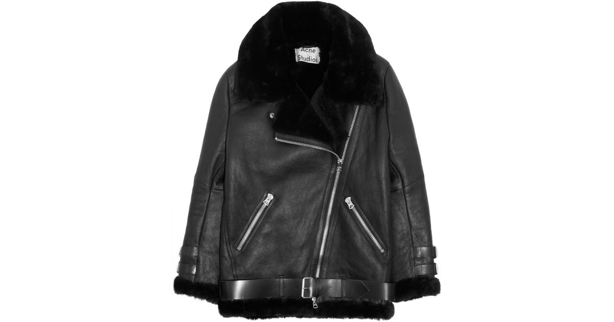 461c5cefd Acne Studios Black Velocite Oversized Shearling Biker Jacket