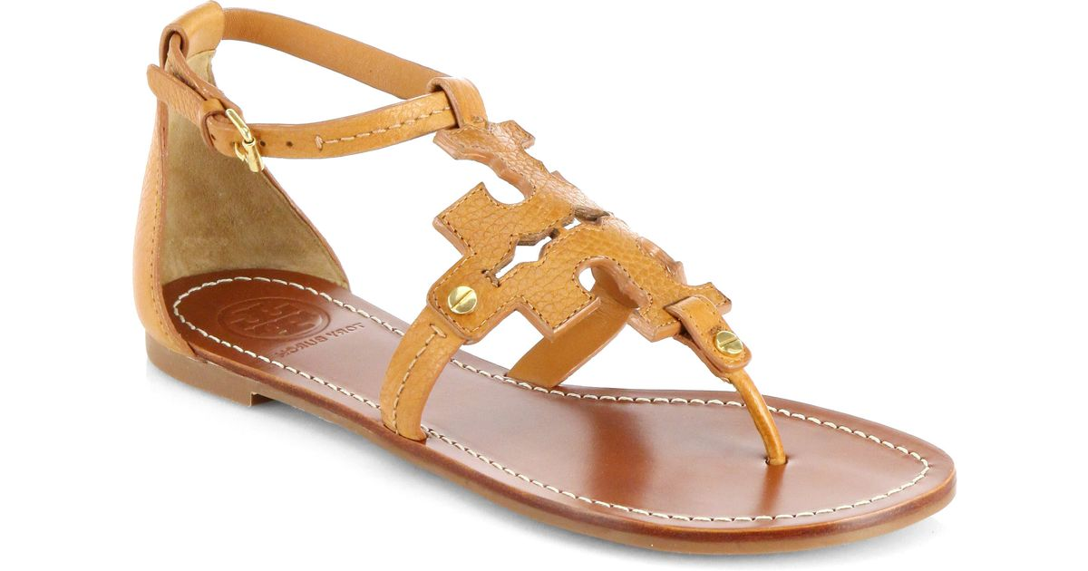 47c440a38 Tory Burch Phoebe Leather Logo Sandals in Orange - Lyst