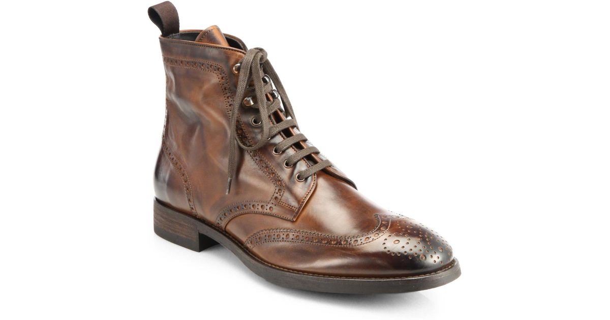 to boot brennan wingtip leather boots in brown for lyst