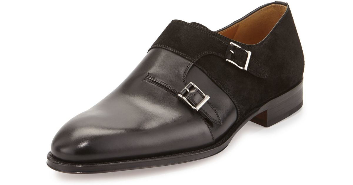 Neiman Marcus Leather Suede Double Monk Loafer In Black