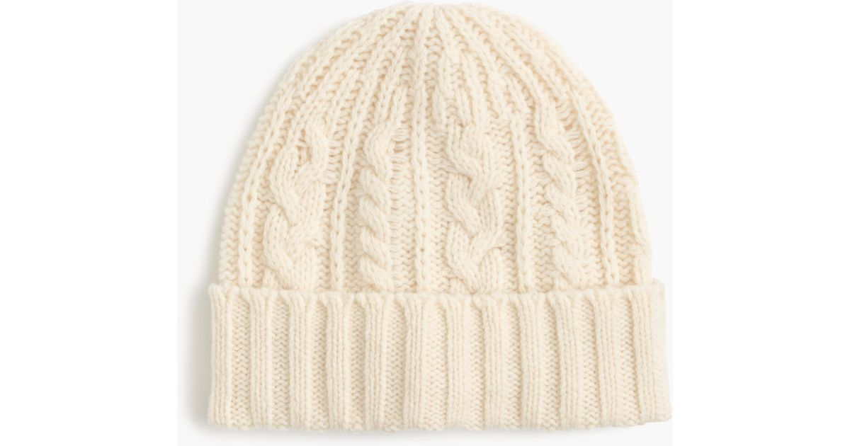4d44f5cf8 J.Crew White Lambswool Cable-knit Hat