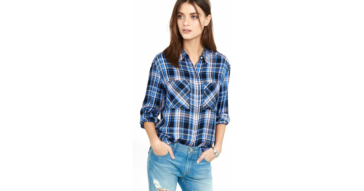 Express blue and blush pink plaid oversized shirt in blue for Oversized plaid shirt womens