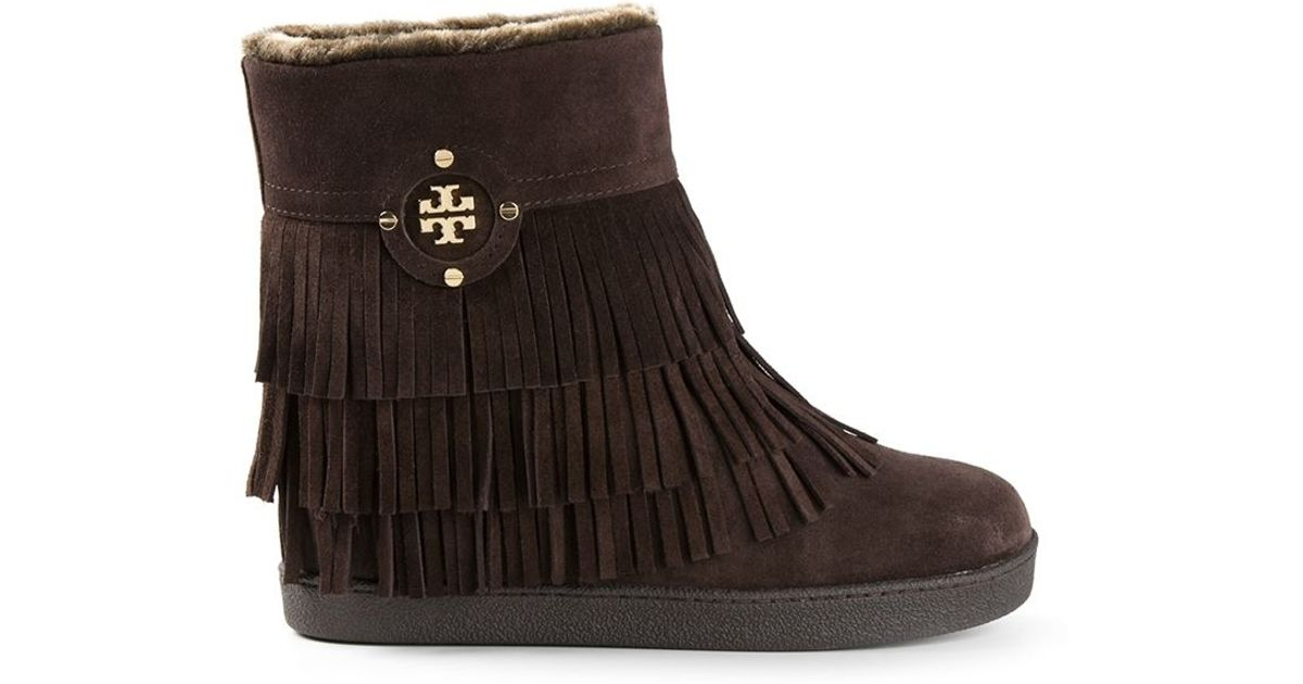 9709833a68d Lyst - Tory Burch  collins  Fringe Boots in Brown
