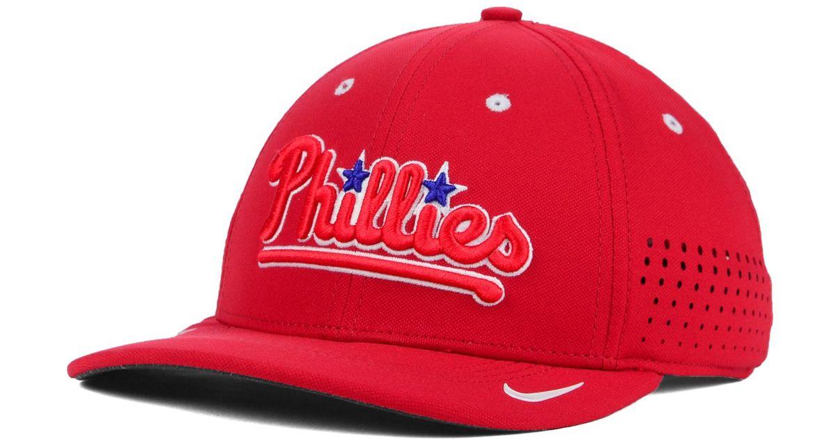 save off 11af8 68080 Nike Philadelphia Phillies Vapor Swoosh Flex Cap in Red for Men - Lyst