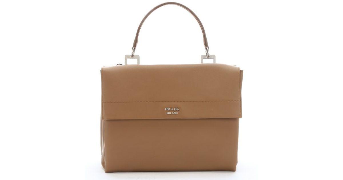 Prada Caramel Leather Flap Front Convertible Dual Satchel in Brown ...