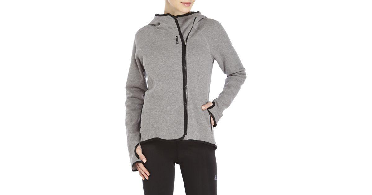 37c68e139 Reebok Gray Virtuoso Asymmetrical Zip-Up Fleece Hoodie