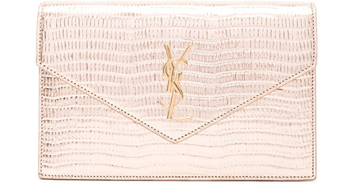 cabas yves saint laurent - Saint laurent Monogramme Mock Lizard Envelope Chain Wallet in ...