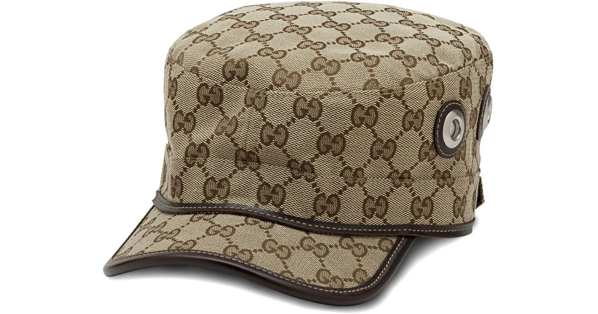 715fbeb7e864f Gucci Canvas Military Hat in Natural - Lyst