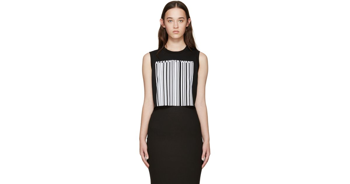 ad6990646590 Alexander Wang Black Cropped Barcode Tank Top in Black - Lyst
