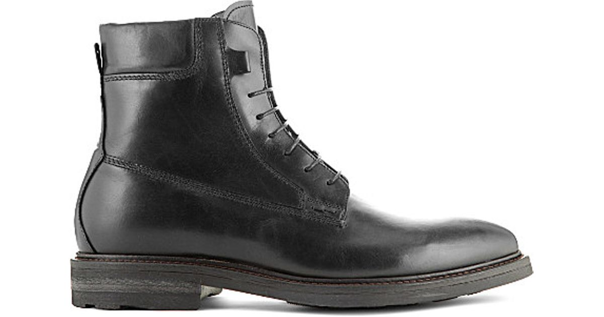 72db79a0199 Kurt Geiger Black Felippo Leather Lace-up Boots for men