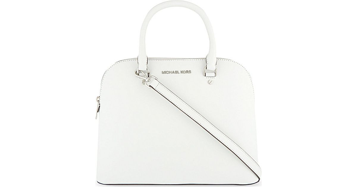 904c75d548f3 MICHAEL Michael Kors Cindy Large Dome Saffiano Leather Satchel in White -  Lyst