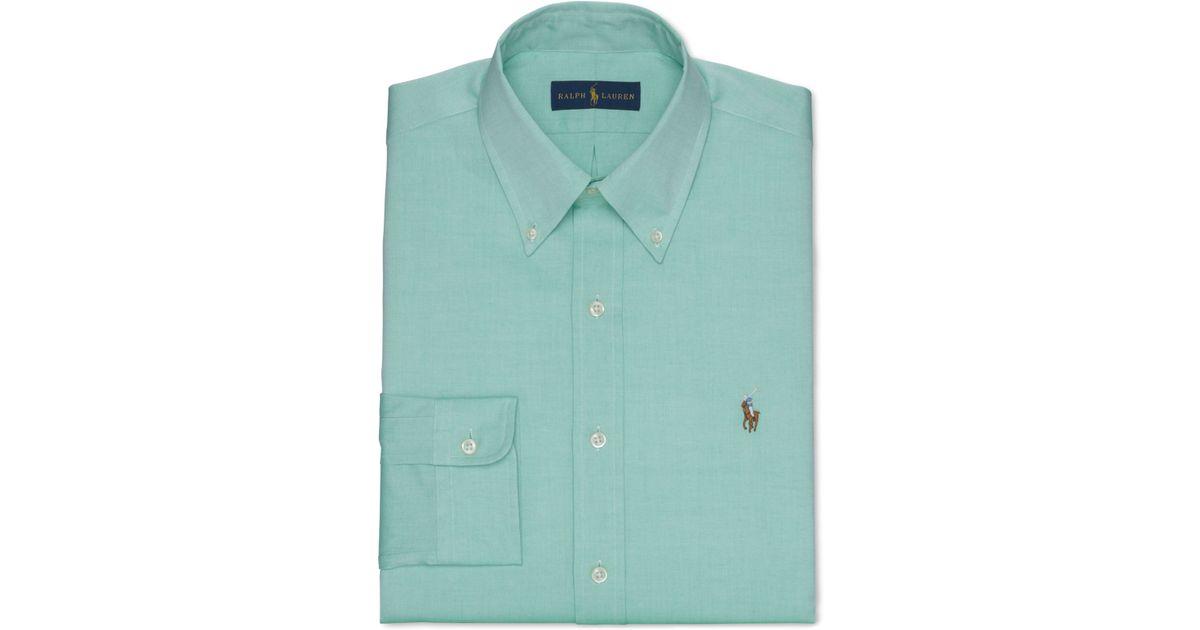 polo ralph lauren green solid dress shirt in green for men