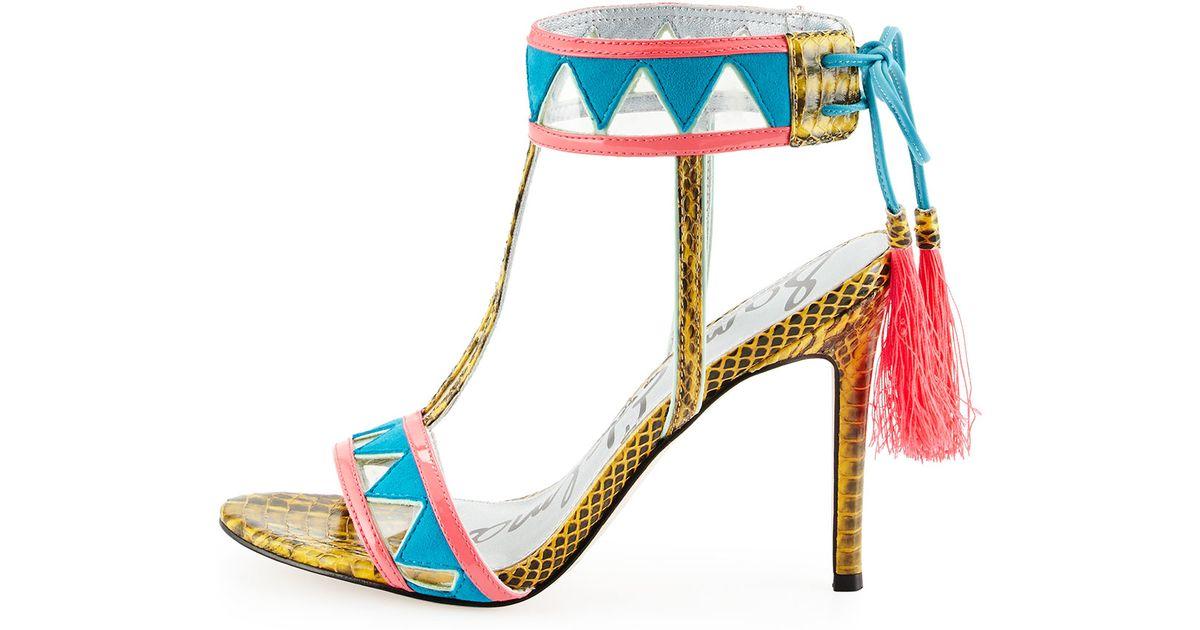 5a98a7ddea33e0 Lyst - Sam Edelman Sadie Snake-Print Tassel Sandal in Blue