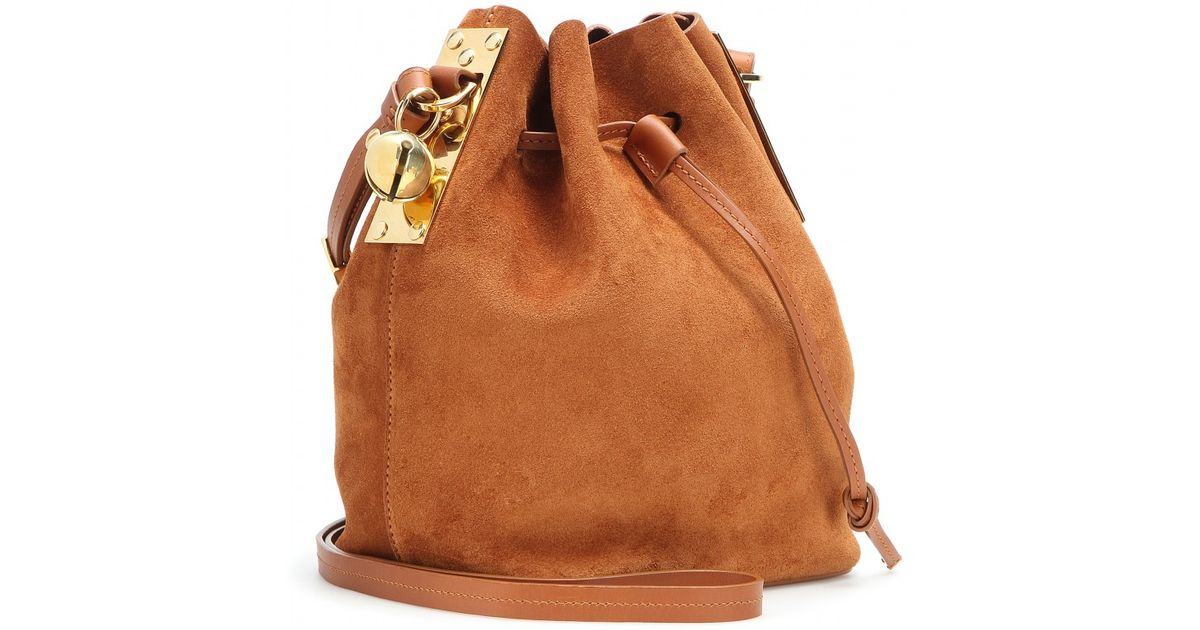 34302d766dc82 Sophie Hulme Mytheresa. Com Exclusive Small Nelson Suede Bucket Bag in  Brown - Lyst