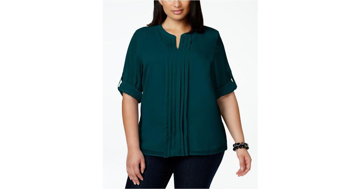 bef4957babc9e7 Calvin Klein Plus Size Split-neck Pleat-front Chiffon Blouse in Green - Lyst