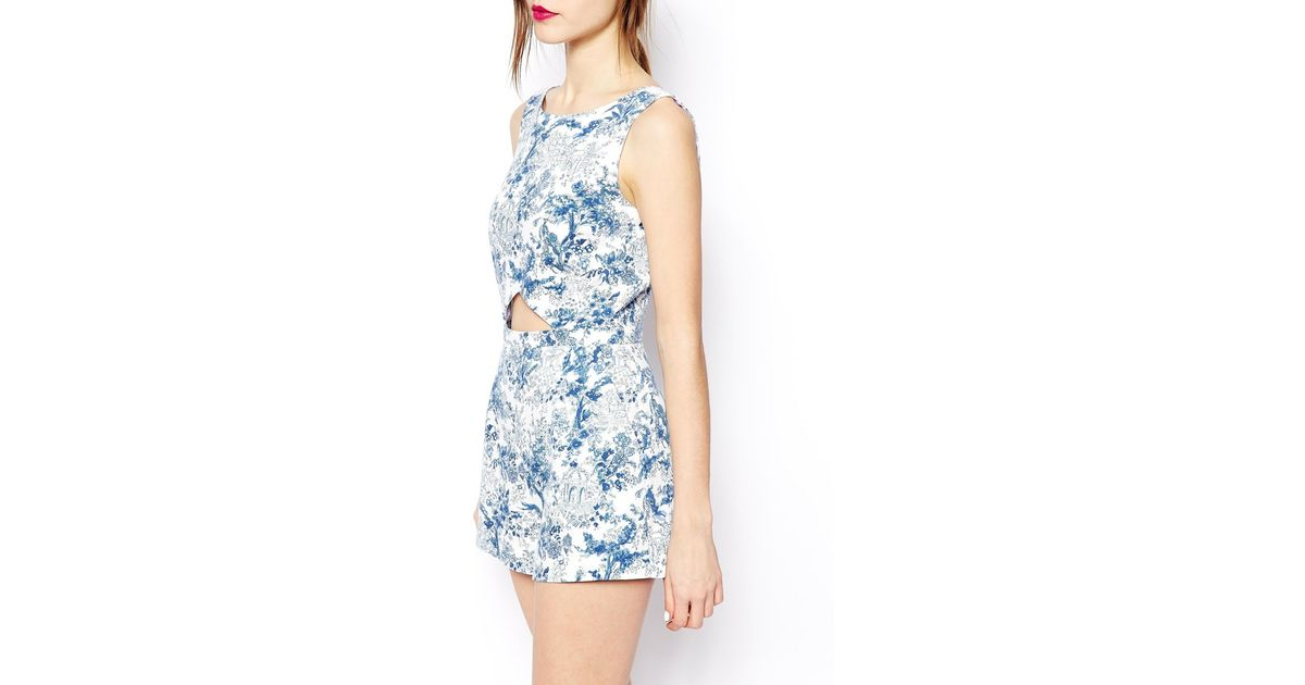 b91e293f375 Lyst - ASOS Playsuit In Blue Floral Print in Blue