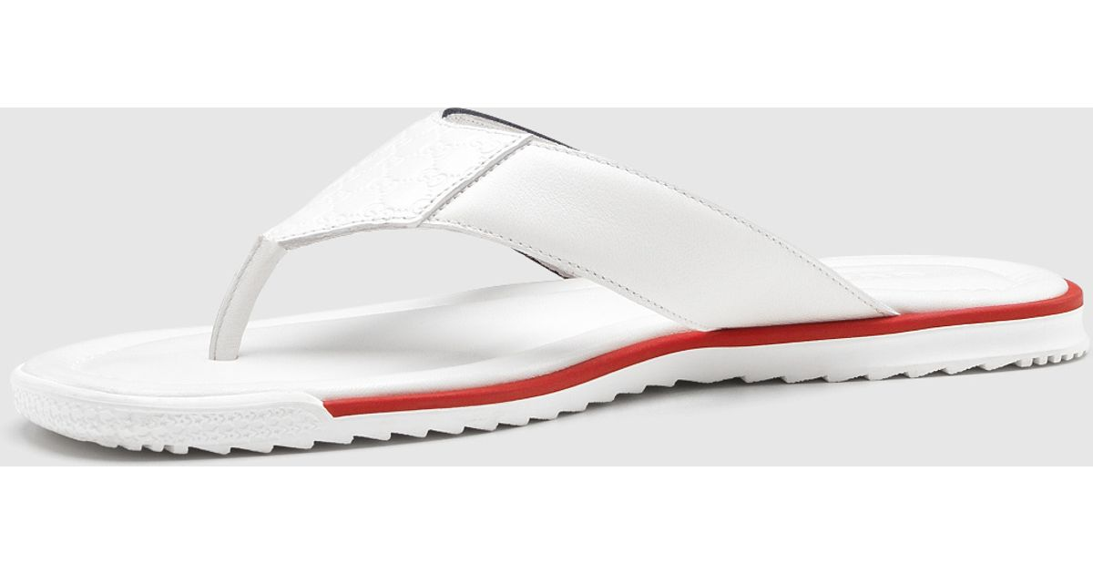 f4914c0e8 Gucci White Leather Thong Sandal in White for Men - Lyst