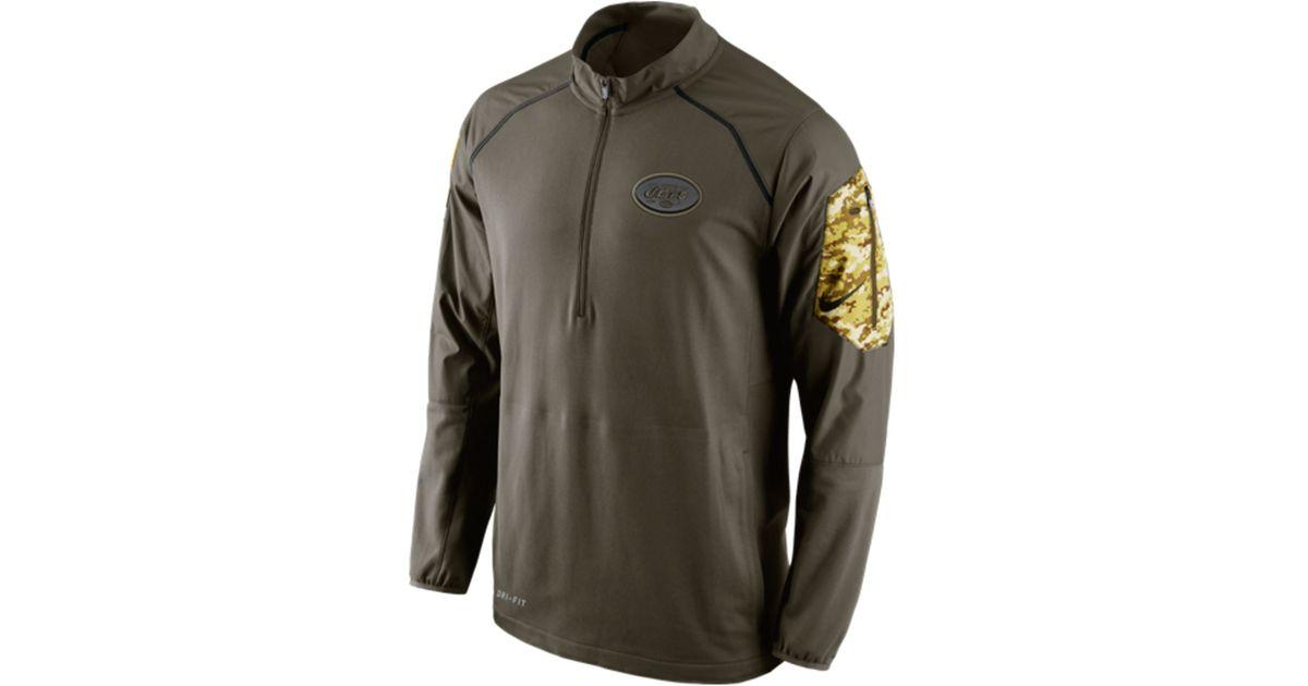 online store b0c78 e7426 Nike Green Men's New York Jets Salute To Service Hybrid Quarter-zip  Pullover for men