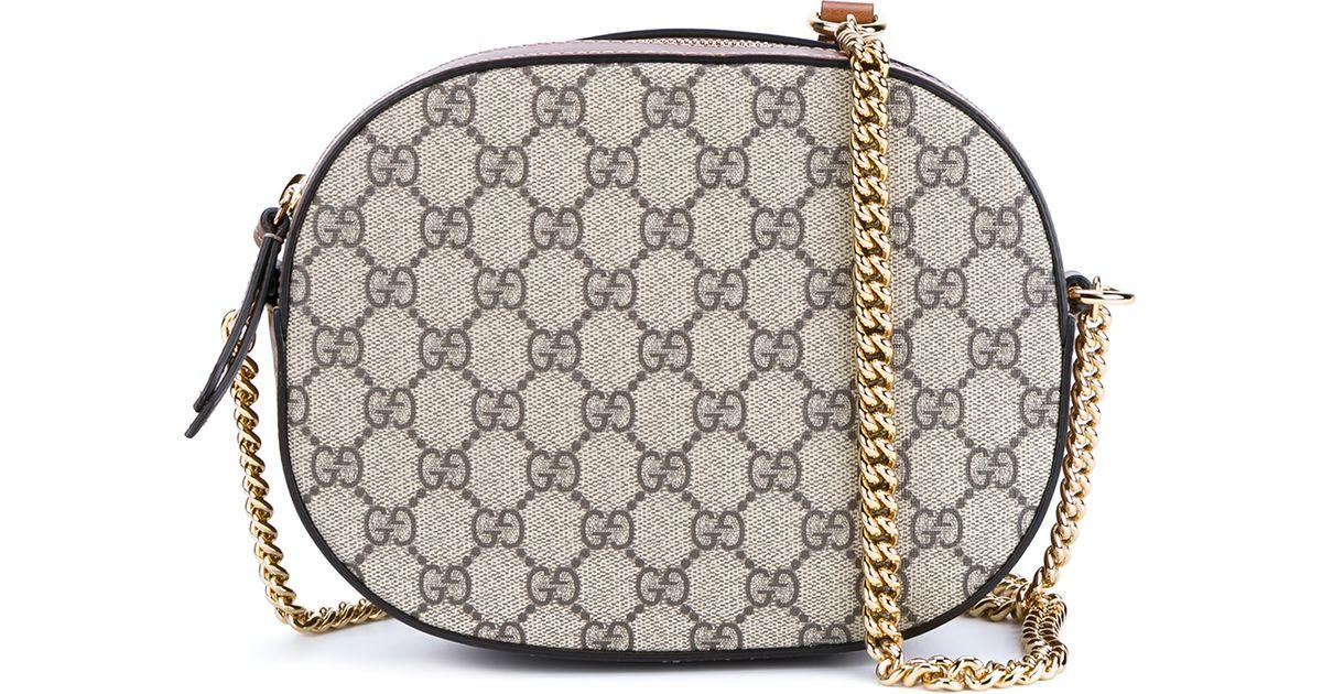 684baee5a3ab Gucci GG Supreme Mini Chain Bag in Natural - Lyst