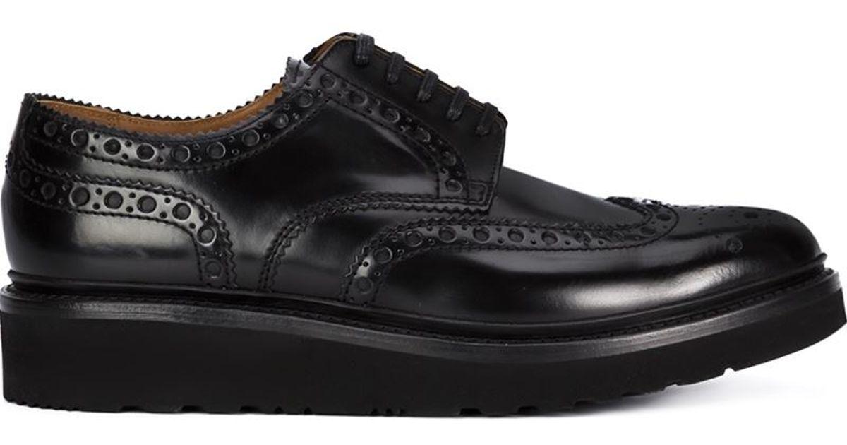 Leather Platform Brogue Shoes