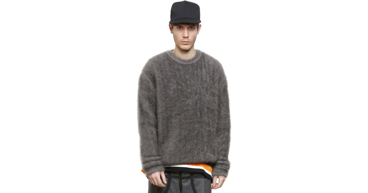 f7e8cc626b7b Lyst - Givenchy Columbian Fit Fluffy Angora Sweater in Gray for Men