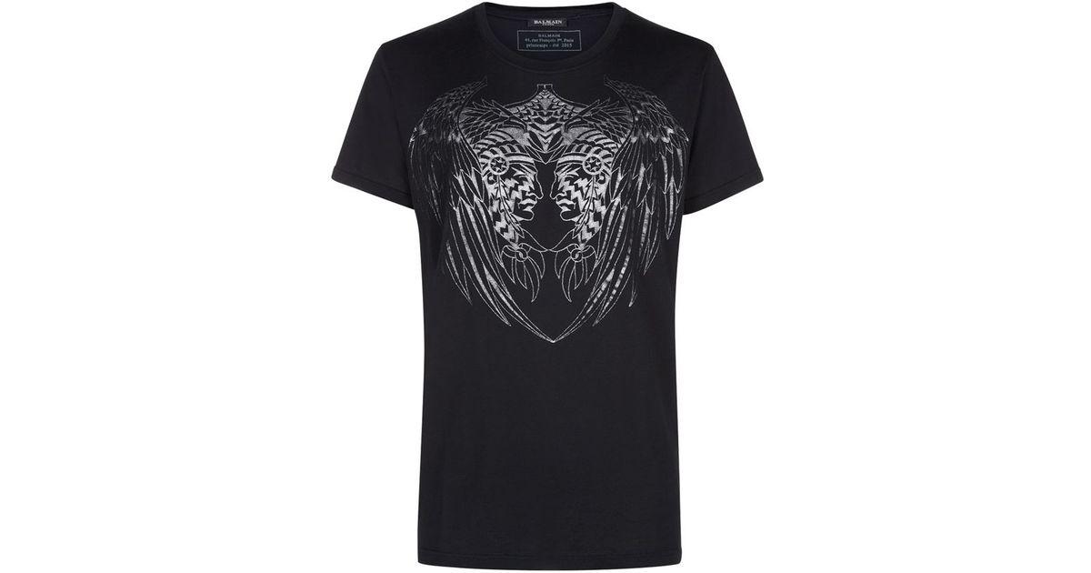 4910569b Balmain Indian Wing Print T-Shirt in Black for Men - Lyst