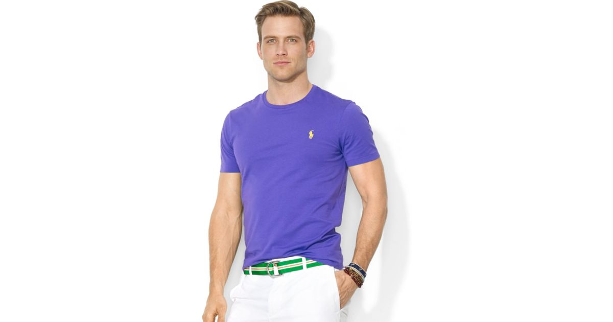 9aeef262efae7 ... best price lyst ralph lauren polo customfit cotton jersey crewneck  tshirt in purple for men a25eb