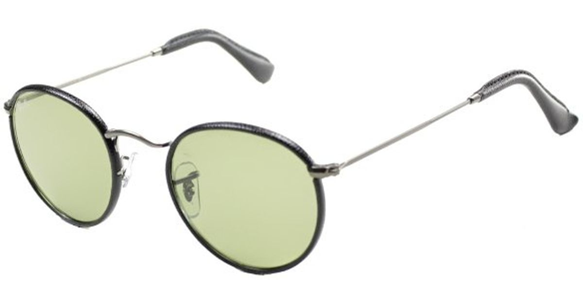 Ray ban ray ban round craft rb3475q 029 14 black leather for Ray ban craft round