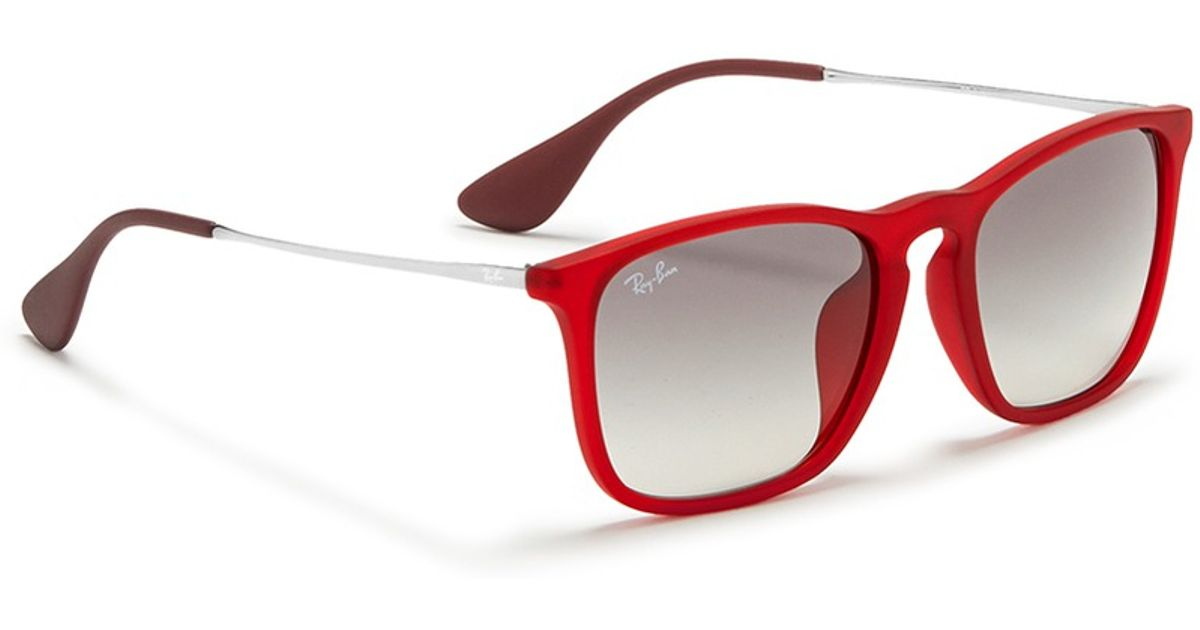 Ray-Ban \'chris\' Acetate Frame Wire Temple Sunglasses in Red for Men ...