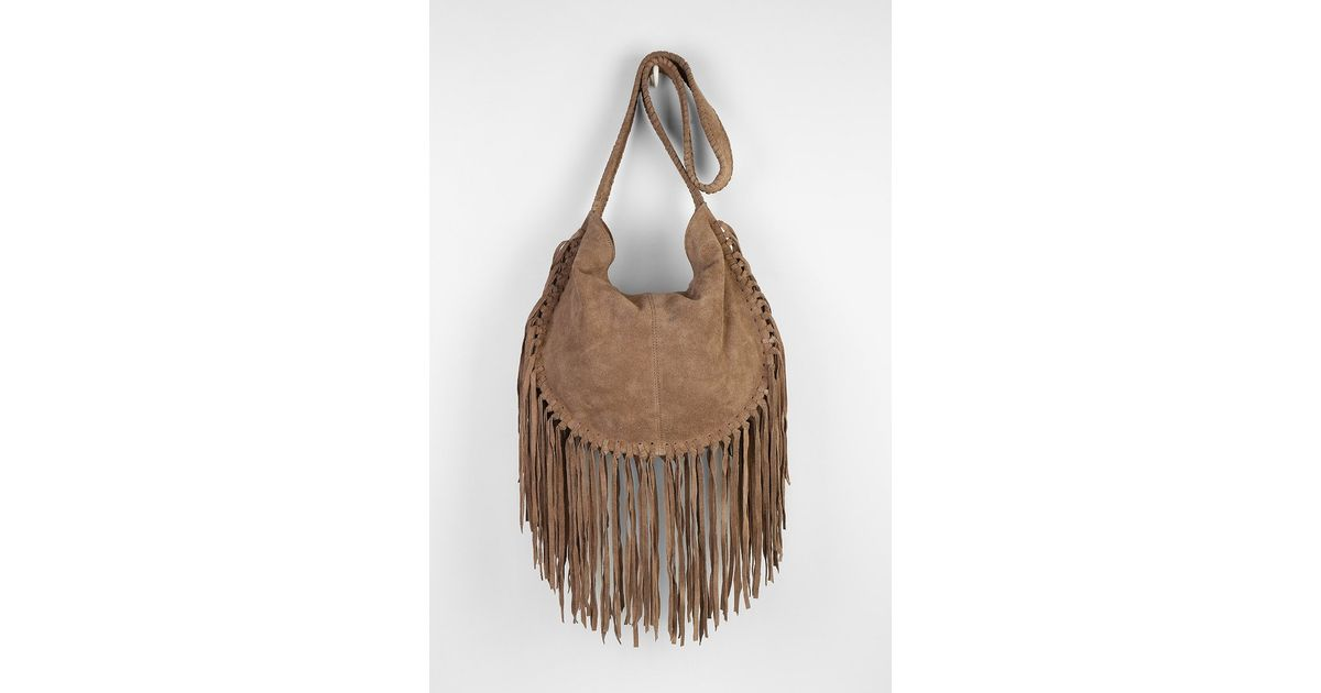 ecote bettina suede fringe hobo bag in brown lyst