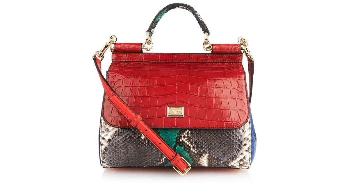 efaee5811f Dolce Gabbana Sicily Crocodile And Snake Cross Body Bag In Red Lyst. Dolce  And Gabbana Mini ...