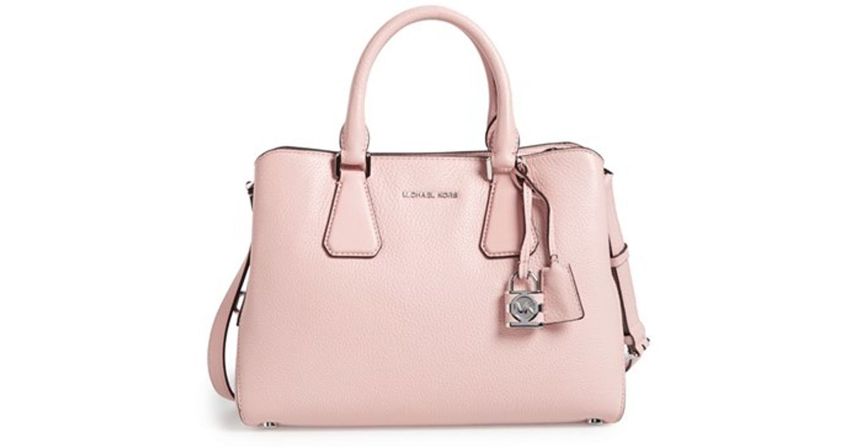 dec821a325a5 MICHAEL Michael Kors Camille Leather Satchel in Pink - Lyst